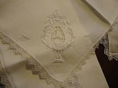 Vintage Antique French Linen Dinner Luncheon Napkin Set 9 White Linen Handstitch
