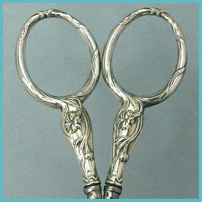 Antique French Silver Embroidery Scissors w/ Art Nouveau Floral Design  C1900