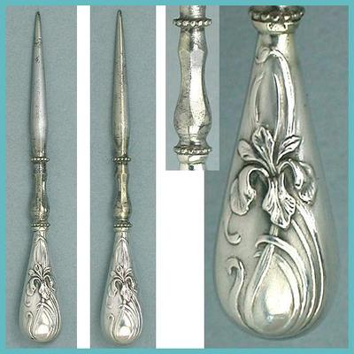 Antique French Silver Irises Stiletto / Awl  Circa 1900