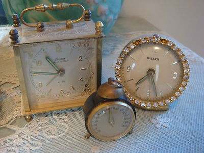ANTIQUE FRENCH & GERMAN CLOCK LOT WITH BONUSRHINESTONESHABBY DISPLAYPARIS
