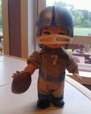 Antique wind up toy doll DALLAS COWBOY quarterback Horseman 1960
