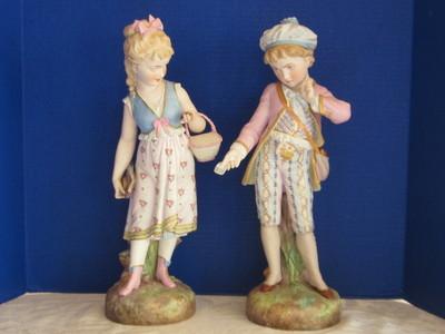 Antique Piano Baby Porcelain Bisque Figurine Pair  FINEST QUALITY