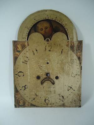 Antique English Tall Case Grandfather Clock Dial  w/Moon Dial and Calendar Wheel