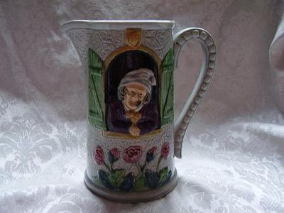 Old Antique MAJOLICA Art Pottery PITCHER English Man Woman in Cottage Scene Jug