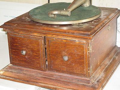 Victrola early english antique Victor Victrola phonograph parts tiger oak cabnt