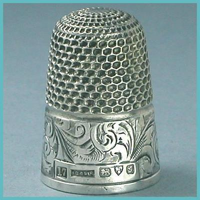 Hand Engraved Antique English Sterling Silver Thimble  Hallmarked 1907