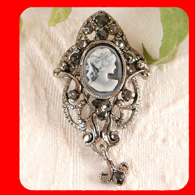 Antique Style CAMEO Pin Brooch Crystal , Gray
