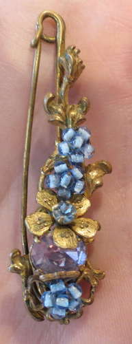Antique Miriam Haskell Pin Brooch with Purple Amethyst Stone