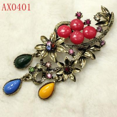 Multicolor Crystal Antique Bronze Brooch Free shipping AX0401