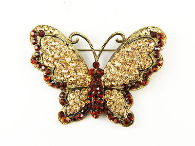 Victorian Antique Inspired Queen Topaz Crystal Rhinestone Butterfly Pin Brooch