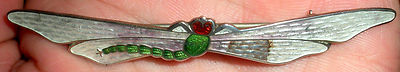 ANTIQUE C1920 ART NOUVEAU STYLE DRAGONFLY STR SILVER PIN BROOCH NICE ENAMEL vafo