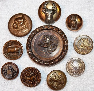 10 Antique Animal Metal Picture Buttons Dog, Rabbit, Seahorse, Bird, Boar, Stag