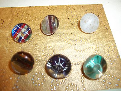 Six Antique Glass Charmstring Back Painted Buttons