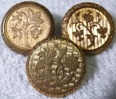 3 Antique Fancy Gilt Brass Buttons