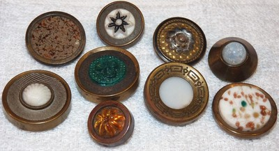 9 Antique Brass Buttons with Glass Centers