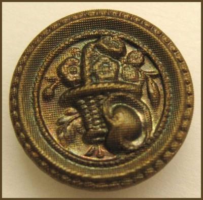 OLDAntique Vintage Metal Picture Button…Weaved Basket Filled w/Flowers 5/8″