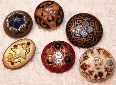 6 Antique Enamel Painted Brass Buttons