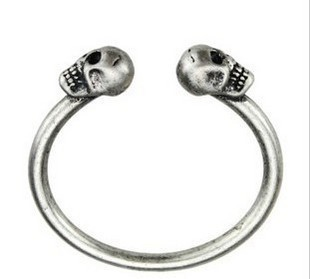 B1080 Vintage Antique Silver Cute Skull Heads Key Bracelets Bangle Free shipping