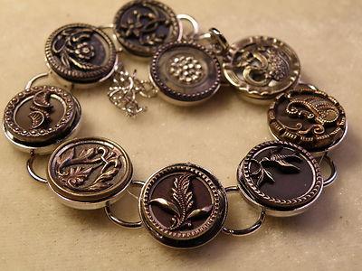 Antique Metal Button Bracelet in Silver plated Bezel Bracelet #5