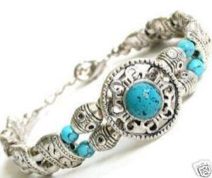 Beautiful antique style Tibet silver turquoise bracelet