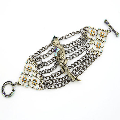 B1078  Coming Vintage Antique Bronze Parrot Chains Cuff Bracelet