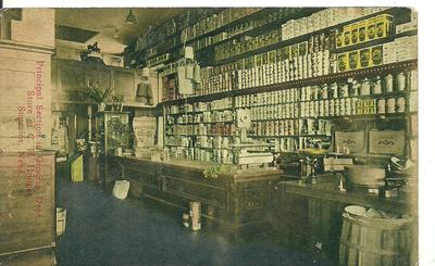GROCERY STORE INTERIOR 1909 ANTIQUE PC SUPERIOR NEBRASKA Canned Goods Barrel Box