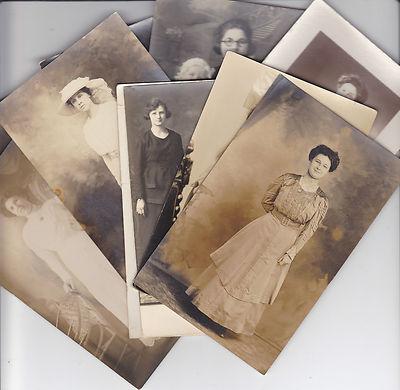 Lot of Antique 1800's  1900's Photo Postcards  Women / Victorian Fashion