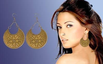 Engraved Antique Brass Disk BOHO Chandelier Earrings