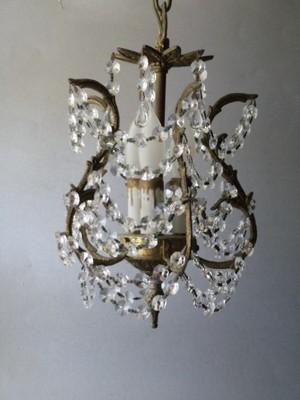ANTIQUE BRONZE BRASS FRENCH CHIC X PETITE CRYSTAL CHANDELIER HALL LAMP LIGHT VTG