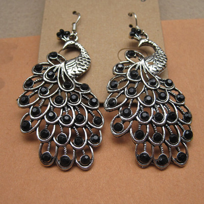 ETHNIC ANTIQUE VINTAGE SILVER BLACK CRYSTAL PEACOCK DANGLE CHANDELIER EARRINGS