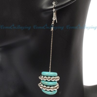 Antique Silver Oblate Turquoise Stone Dangle Drop Hook Earrings Chandelier Fancy