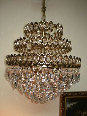 Antique Vintage Brass Crystal Chandelier Lighting Unique French