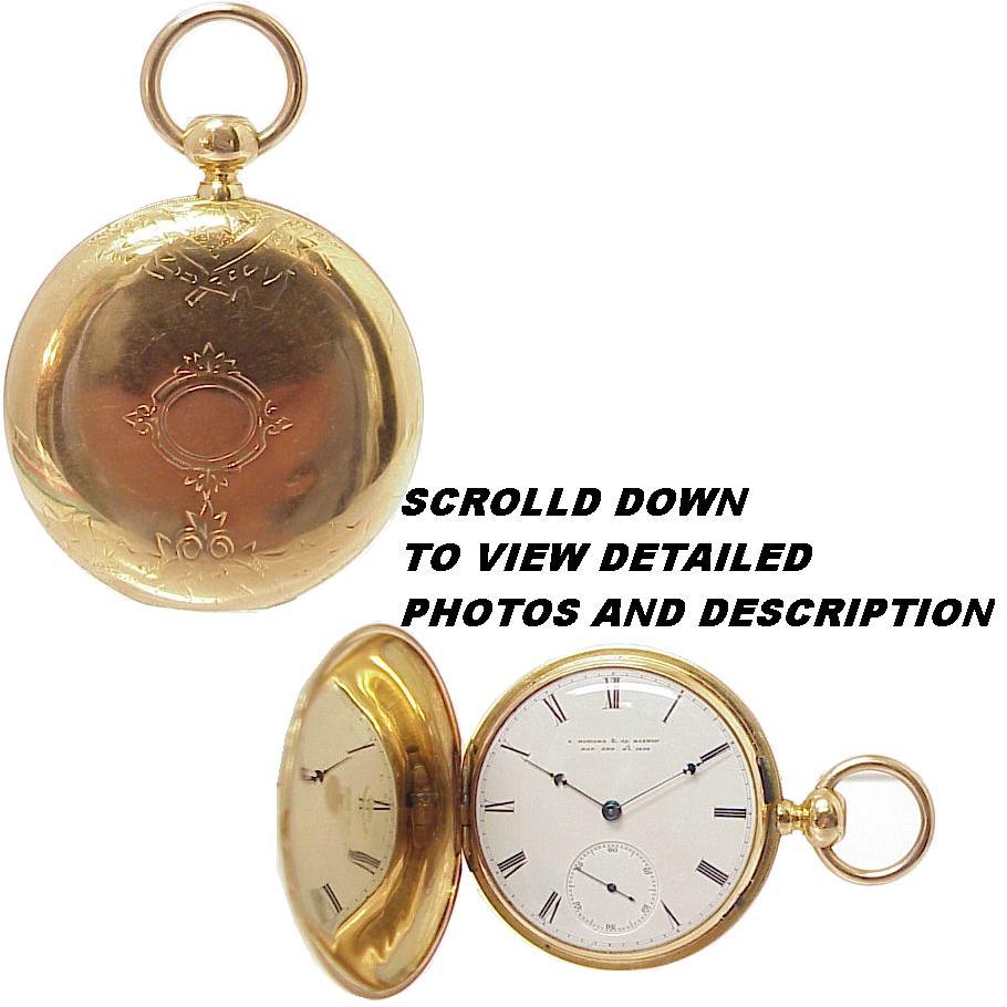 1868 E Howard N Size 18K Gold Hunter Case Pocket Watch, Needs Restoration