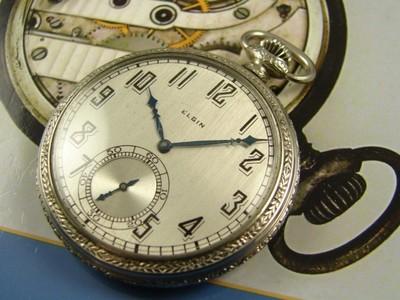 ART DECO FANTASY ELGIN POCKET WATCH VINTAGE 1927 CLASSIC RUNS A 45mm SO ELEGANT