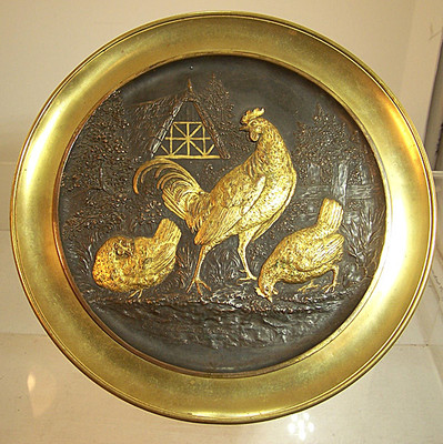 Antique Bronzed Tazza w/Chickens & Rooster Farm Scene SIGNED J. Weitman 862 yqz