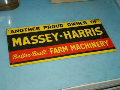 NOS Antique Vintage Massey Harris Implement Farm Sign 1940 1950 Era RARE