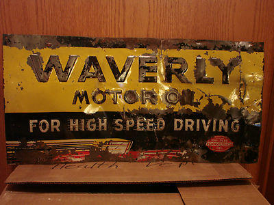 Rare Old VTG/ Antique original Waverly Motor Oil tin sign