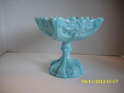 Old Antique Blue Milk Glass Compote Ornate Depression Art Nouveau Candy Dish