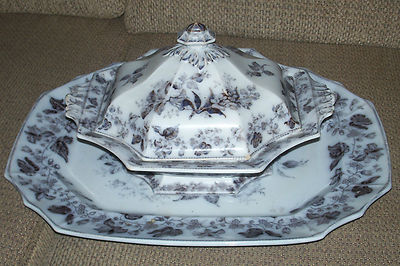 RARE ANTIQUE FLOW BLUE T.F. & CO. WREATH MULBERRY COVERED VEGETABLE DISH PLATTER