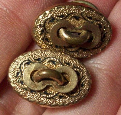 ?c.1860s Antique Victorian Cuff Link Buttons Taille d' Epergne Black Enamel?