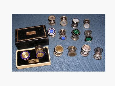 1 DAY AUCTION Great Lot  7 Pair Antique Vintage  Snap Together Cufflinks  Enamel