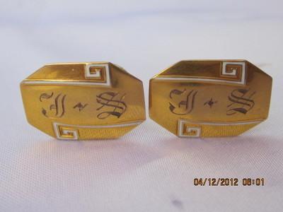 Antique 10k Gold Cufflinks Mono