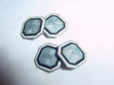 ANTIQUE STERLING SILVER GUILLOCHE ENAMELED F&B CUFFLINKS