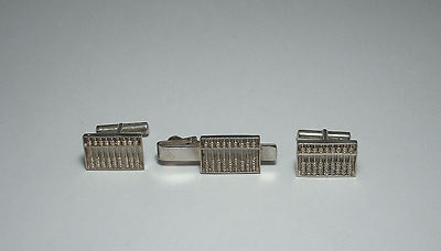STERLING SILVER Antique Men's Handcrafted Abacus Cufflinks & Tie Clip Set