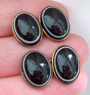 FINEST VICTORIAN ANTIQUE BULL EYE BANDED AGATE 15CT GOLD CUFFLINKS 9.7 GRAMS