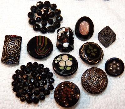 12 Antique Fancy Black Glass Buttons Passamenterie, goldstone, painted