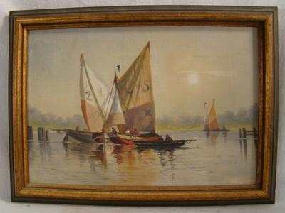 Antique RACING SailBoat REGATTA Old NAUTICAL Folk Art PAINTING