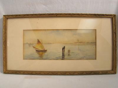 Antique NAUTICAL SailBoat SEASCAPE Old WATERCOLOR Folk Art PAINTING