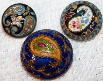3 Antique Enamel Painted Paisley Brass Buttons