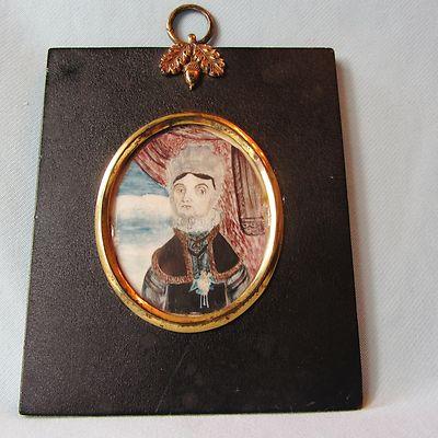 Unusual Rare c18th Antique Georgian Miniature Portrait Painting of Lady Queen